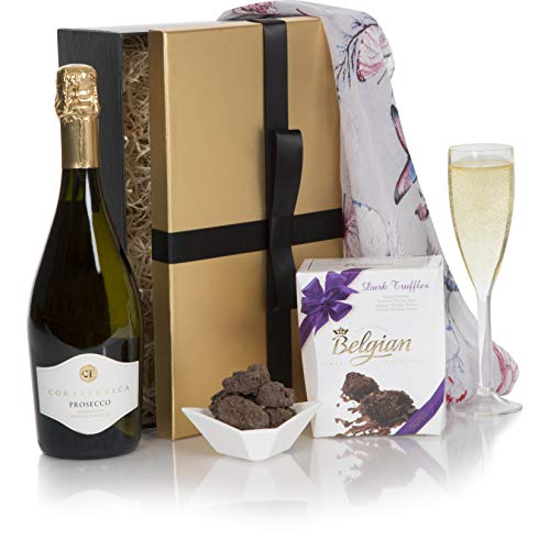 Prosecco & Chocolate Hamper - Luxury Prosecco & Chocolate Truffles Hampers For Birthday Gift - Premium Wine Gift Box Range For Her