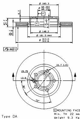 Preisvergleich Produktbild BREMBO 09.9797.11 Bremsscheibe Scheibenbremsen,  Bremsscheiben (x2)