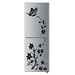 Handfly Fleur Rattan Papillon Motif PVC Amovible Accueil Stickers Muraux Autocollants Frigo