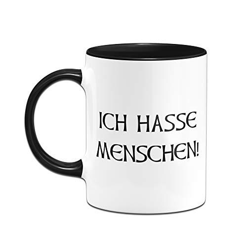 Tassenbrennerei Tasse mit Spruch Ich Hasse Menschen - Tassen mit Sprüchen lustig ALS Bürotasse auf der Arbeit (Schwarz) - 2
