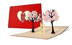 Idea Regalo - L10 Biglietto auguri innamorati sotto alberi di ciliegio, motivo 3D a comparsa centrale, passione ro