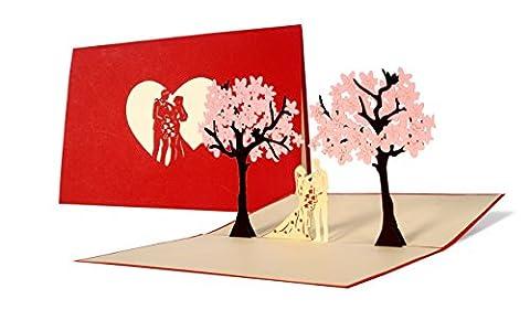 L10 Carte de voeux pour mariages, 3D pop up, haute qualité fait à main, motif jeunes mariés arbres couleur