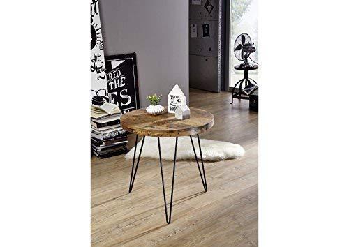 Table basse ronde Ø60cm - Fer et Bois massif recyclé laqué (Multicolore) - RAILWAY #109