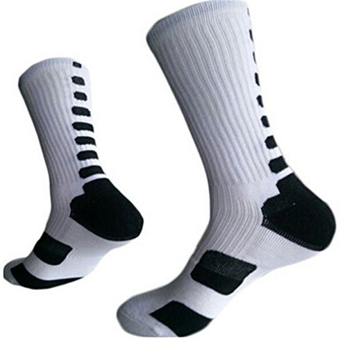HENGSONG Men Boy Sports Socks Basketball Football Fitness Cotton Cushioned Athletic Long Socks (White and Black)