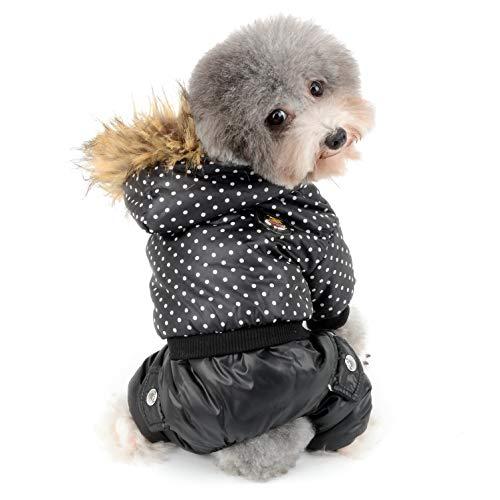 Ranphy small dog pois snowsuit pet inverno cappotto foderato in pile impermeabile cucciolo gatto hoodie cappotto cotton-padded caldo clima freddo con cappuccio tuta vestiti da ragazzi