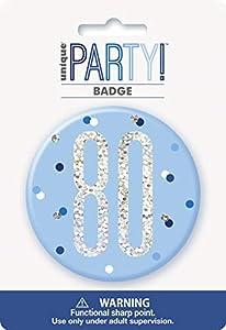 Unique Party 83525 - Insignia de cumpleaños, color azul y plateado