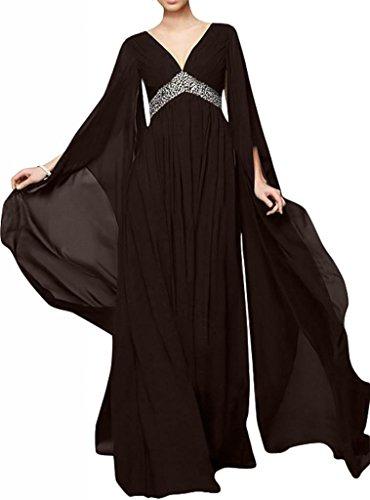 TOSKANA BRAUT Chic V-Ausschnitt lange Aermel Chiffon Abendkleider Lang Brautmutter Party Ballkleider Braun