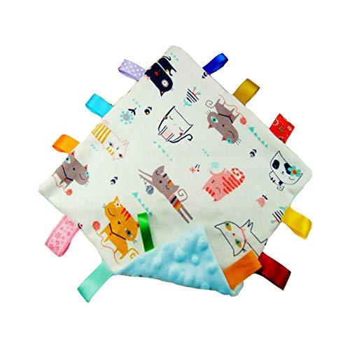 Bébé Boy Blue Tag Security Blanket Toy, Super Couverture souple Tag, Consolateur sécurité avec coloré Balises meilleur cadeau pour enfant Tout-petit Enfant