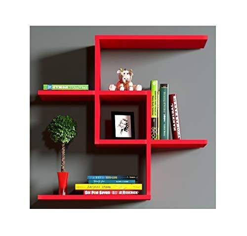 Homidea chain mensola da muro-rosso-mensola parete-mensola libreria-scaffale pensile per studio/soggiorno in un design moderno.