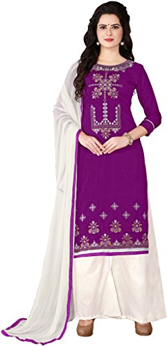 Aadhya Creartion Embroidred Purple Colour Cambric Cotton Regular and Party wear Punjabi...