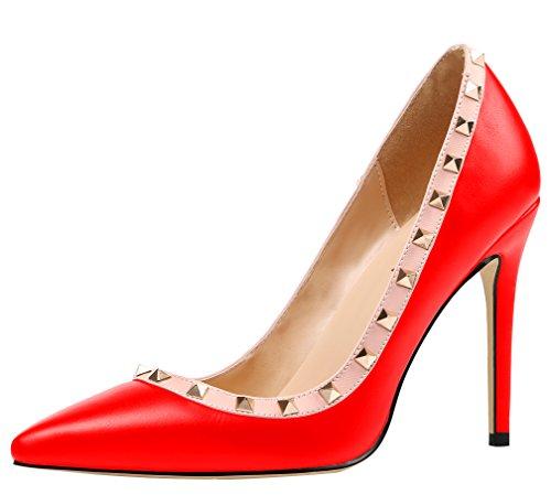 AOOAR Damen Übergröße High Heels mit Nieten Pumps Rot PU EU 41 - Pu High Heel