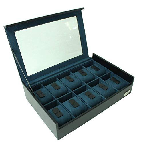 Handgefertigte Einzel - (Cordays -Uhren Box für 10 Uhren mit Glasvitrine. Handgefertigt - Premium Qualität - Unisex. Farbe Schwarz- CDL-10005C)