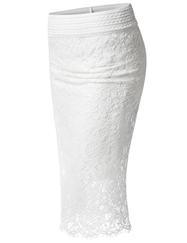 Nearkin NKNKWLSK63 Womens Waistband Scallop Floral Laced Midi Pencil Skirt White UK 10~12(Tag Size M)