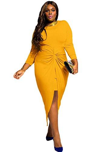 Nueva mujer Plus tamaño amarillo con nudos de manga larga vestido oficina de para fiesta noche ocasión especial vestido Tamaño XXL UK 16–18EU 44–46