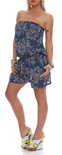 malito Damen Einteiler mit Blumenmuster | kurzer Overall mit Stoffgürtel | Jumpsuit �?Playsuit �?Romper 1496 Dunkelblau