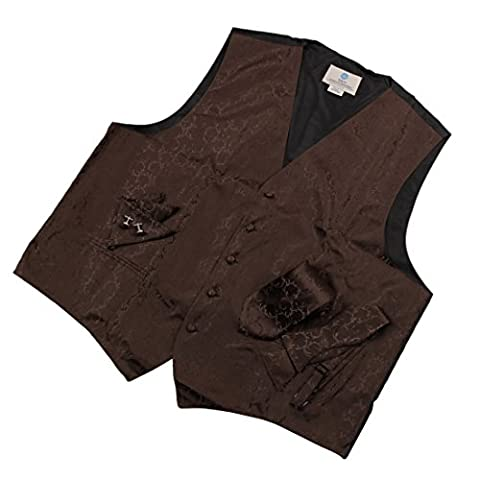 VS1013-M Brown Paisley Formal Vest for Men Patterned for Mens Gift Idea with Neck Tie, Cufflinks, Handkerchief, Bow Tie for Suit Medium Brown