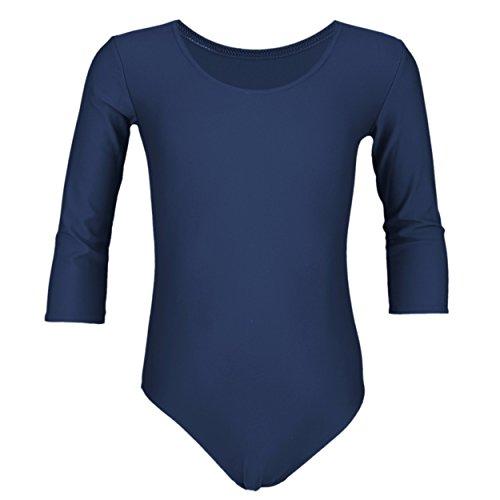 Aquarti Mädchen Body 3/4 Arm Ballett Trikot Baumwolle, Farbe: Dunkelblau, Größe: 122 (Gymnastik-turnanzug Mädchen)