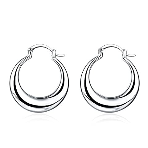 BODYA silver plated Classics Bohemia style wide 3mm Round Tube Huggie Hoop drop Earrings jewelry