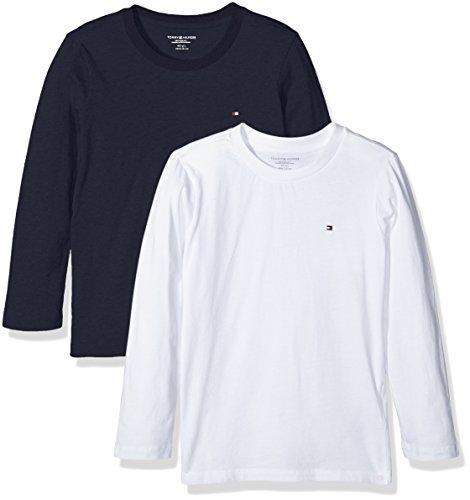 Tommy Hilfiger Jungen T-Shirt Cotton CN Tee LS Icon 2 Pack, 2, Mehrfarbig (White/Navy Blazer 103), 164 (Herstellergröße: 12-14)
