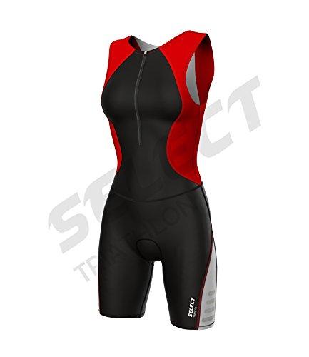 Select Damen Triathlon Anzug Radfahren Running Compression Tri Anzug gepolstert - rot - S