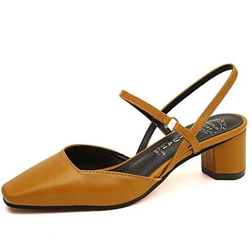 Dimaol Zapatos De Mujer En Piel Nappa Comfort Comfort Zapatos De Tacón Bajo Heel Square Hebilla De Punta Para Casual Beige Amarillo Negro Amarillo