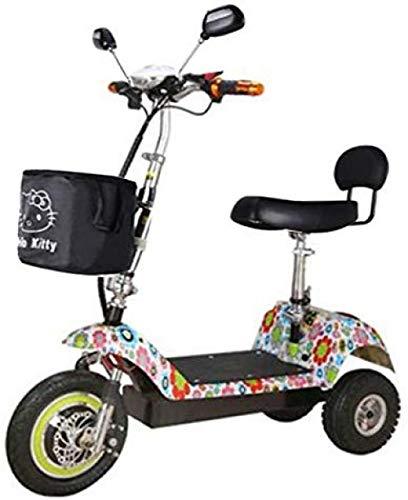 Hdezzz L'automobile piegante della Batteria al Litio del Mini Triciclo Elettrico Adulto del motorino Elettrico può sopportare Il Peso 100KG (Colore Multiplo) @ Multicolore