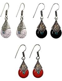 b3b322062 URBANELA Multicolour Afghani Tribal Oxidised Silver Dangler Fancy Party  Wear Earrings for Women-Combo of