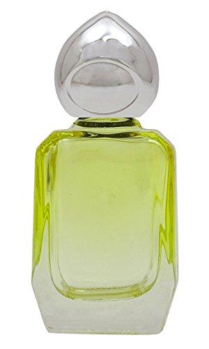 Jaune vide Rechargeables Roll-On bouteille en verre parfum AROMATHÉRAPIE bouteilles de parfum Huile d'argent avec Cap 10 ml- Pack 2