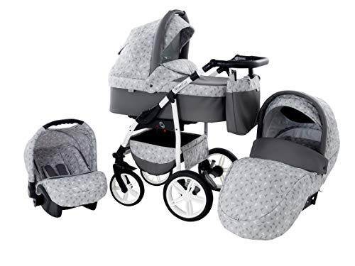 Kinderwagen Babywagen Kombikinderwagen Zeo'Wind' 3 in 1 Komplettset mit Zubehör 0-3 Jahre 0-15 kg...