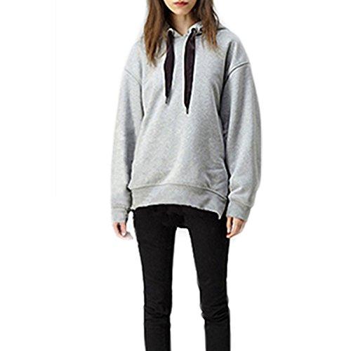LQKA-EU Femme Automne Hiver Manches Longues Couleur Pure lâche Casual Zip latéral Mode Chaud Hoodie Sweat à Capuche Sweatshirt Tops Gris