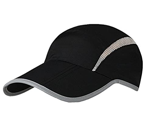 GADIEMENSS Quick Dry Sports Hat Lightweight Breathable Soft Outdoor Running Cap (Folding series, Black)