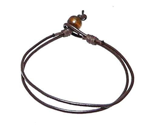 Oscuro pulsera de cordón de cuero marrón / pulsera de cuero / pulsera de surf pulsera - (max tamaño de la muñeca aproximadamente 20 cm.) - 187