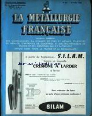 METALLURGIE FRANCAISE (LA) [No 521] du 15/07/1960 - CREMONE A LARDER A LEVIER - SILAM.