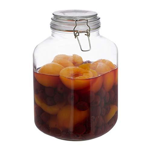 Relaxdays 3 Liter Einmachglas, zum Konservieren, Gastro, Bügelverschluss, Gummiring, luftdicht, XXL Einweckglas, klar, Glas, Eisen, Standard