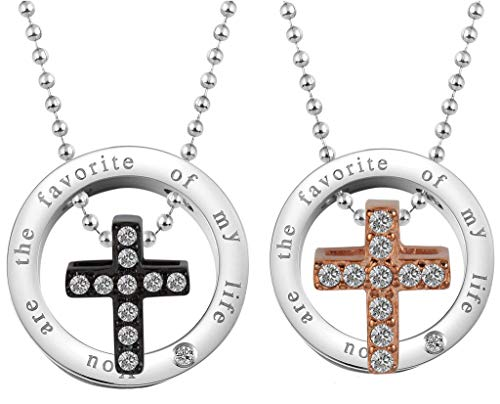 (Beydodo Paar Kette mit Anhänger Edelstahl Kreuz You Are The Favorite of My Life Freundschaftskette Halskette für Partner)
