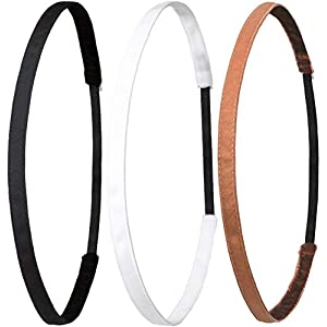 Ivybands ® | Das Anti-Rutsch Haarband | 3-er Pack | Schwarz Super Thin Haarband, Weißes Super Thin Haarband, Cappuccino Running Super Thin Haarband, (1 cm Breite) IVY003 IVY507 IVY234