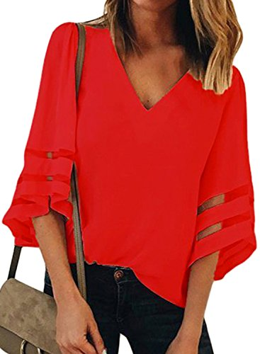 GOSOPIN Ladies Sheer Patchwork Tee Solid Color 3 4 Sleeves Pullover Shirts Summer Baggy V Neck Top Clothes Red Size 12 14
