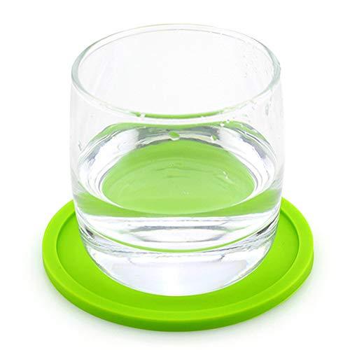 RENNICOCO rund saugfähig Silikon Untersetzer Cup Mats passt jeder Größe Cup Becher Brillen, grün, 10cm*0.5cm