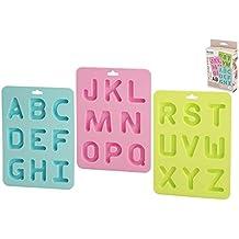 Habi F836 — 3 Moldes de Letras de repostería, Silicona, Multicolor