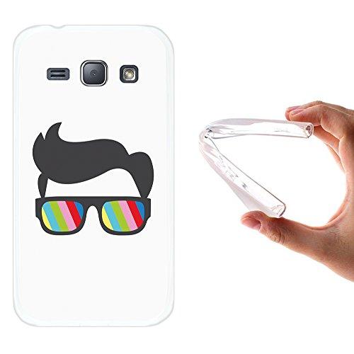 WoowCase Samsung Galaxy J1 2015 Hülle, Handyhülle Silikon für [ Samsung Galaxy J1 2015 ] Sonnenbrille und Nerd Stil Handytasche Handy Cover Case Schutzhülle Flexible TPU - Transparent