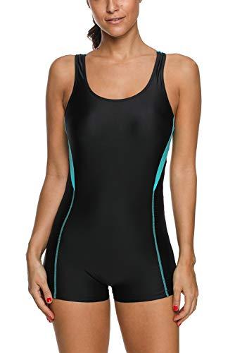 Vegatos Damen Einteiler Badeanzug Mit Bein Racerback Schwimmanzug Figurformend Sportlich Bademode Boyleg Schwarz L