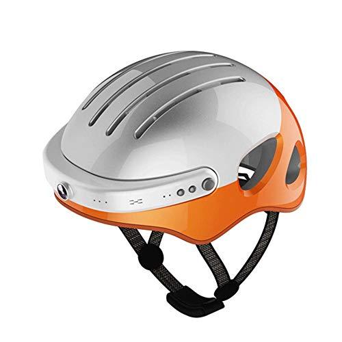 EP-Helmet Mountainbike-Helm, Smarte 2K-Fotografie Video/Bluetooth-Musik/Telefon/App-Verbund, Smart-Riding-Helm,Silver,L