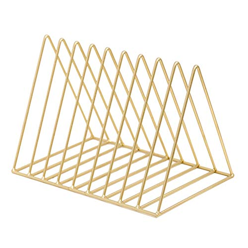 Dreikant Eisen Desktop Storage Rack einfachen Nordic Stil Schmiedeeisen Kombination Bücherregal Zeitung und Prospekthaltern mit 9Fächern gold