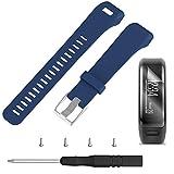 TUSITA Armband für Garmin Vivosmart HR - Silikon Sportarmband Band mit schutzfolie - GPS Smart Watch Zubehör (Dunkelblau)