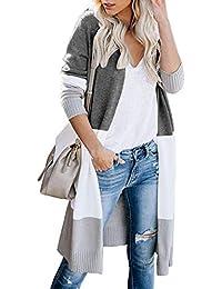 Avacoo Damen Strickjacke Lang Strickmantel Cardigan Damen Herbst Winter Casual Pulli Sweater Jacke Outwear