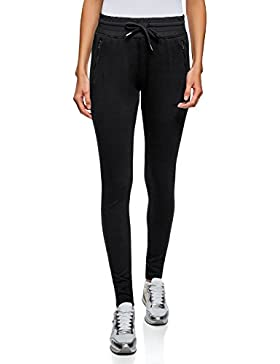 oodji Ultra Mujer Pantalones de Punto con Cintura Elástica y Cordón