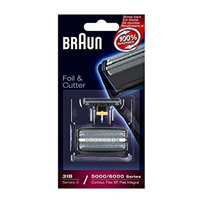 Braun Replacement Foil and Cutter - 31S, Fits Series 3, Contour, Flex XP- 5000 Series Only - Silver
