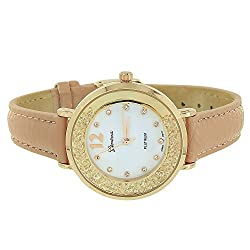Geneva Pink Leather Band Watch Iced Out Lab Created Cubic Zirconias Display Quartz Movement Brand New On Sale