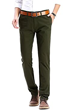 [Patrocinado]Pantalones chinos de hombre 100% algodón moderno Regular Fit excelente para otoño-invierno de HARRMS, 20 colores...