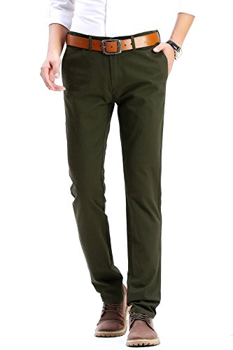 INFLATION Men's Casual Hose Chino Stretch Stoffhose Chinohose Regular Fit HM101 Dunkel Army Grün 33 (Dunkel Grün Vorne)
